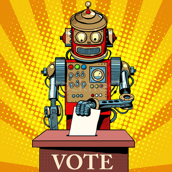 Robot électeur vote élection jour pop art Photo stock © studiostoks