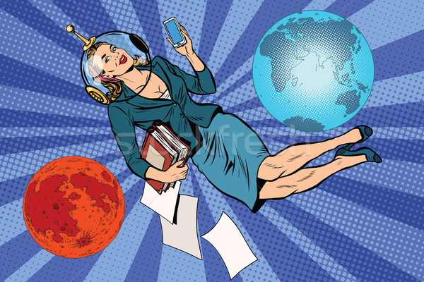 Cosmique femme d'affaires astronaute pop art rétro vecteur Photo stock © studiostoks