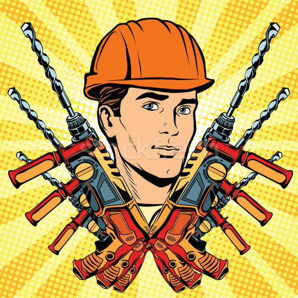 Male Builder work and electric drill Stock photo © studiostoks