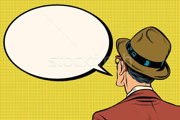 Retro man stands and says the comic bubble Stock photo © studiostoks