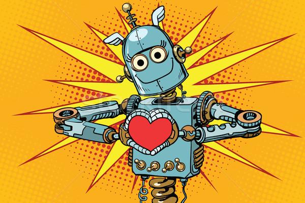 Robot szerető piros szív szimbólum szeretet Stock fotó © studiostoks