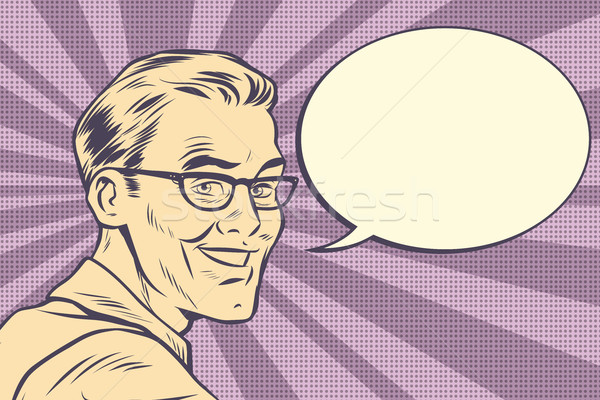 Beautiful smiling man with glasses, vintage faded style Stock photo © studiostoks