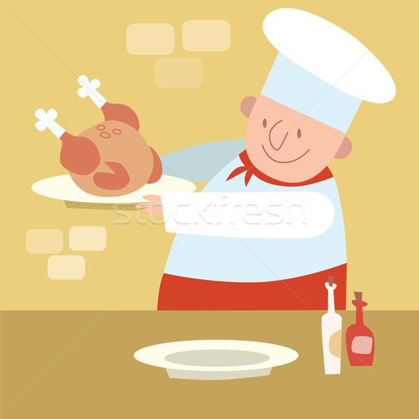 Szakács étterem konyha főzés baromfi tyúk Stock fotó © studiostoks
