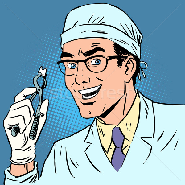 Funny dentist pulled out a tooth pop art retro comic Stock photo © studiostoks