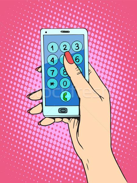 Mujer teléfono número arte pop estilo retro Foto stock © studiostoks