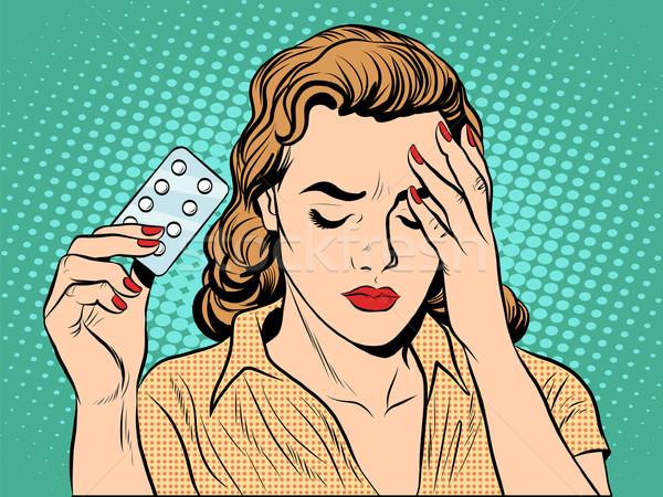 Nő fejfájás tabletták pop art retró stílus gyógyszer Stock fotó © studiostoks