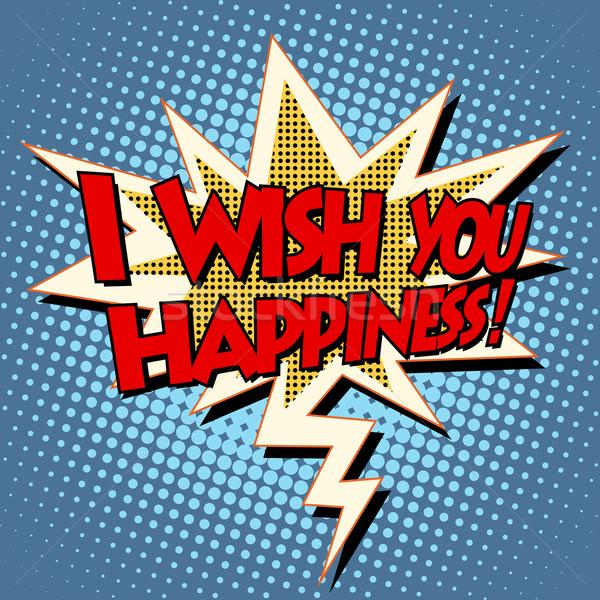 i wish you happiness explosion bubble retro comic book text Stock photo © studiostoks