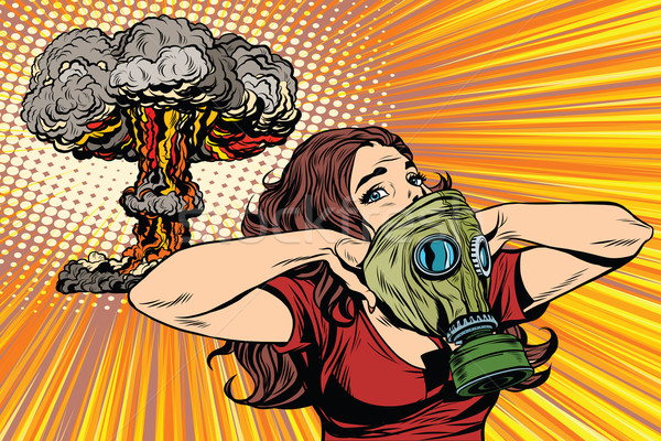 Nuclear explosion radiation hazard gas mask girl Stock photo © studiostoks