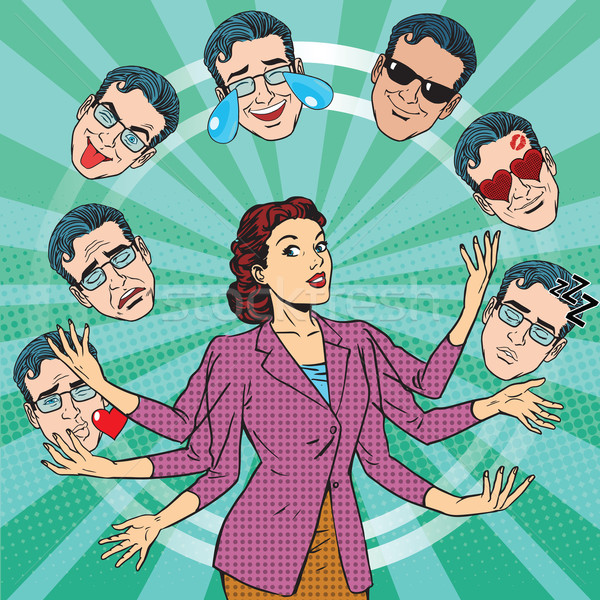 Retro woman juggles the emotions of men Stock photo © studiostoks