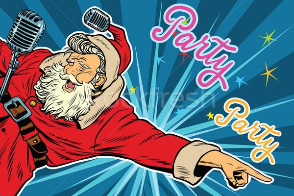 Pop art uitnodiging christmas partij retro kerstman Stockfoto © studiostoks