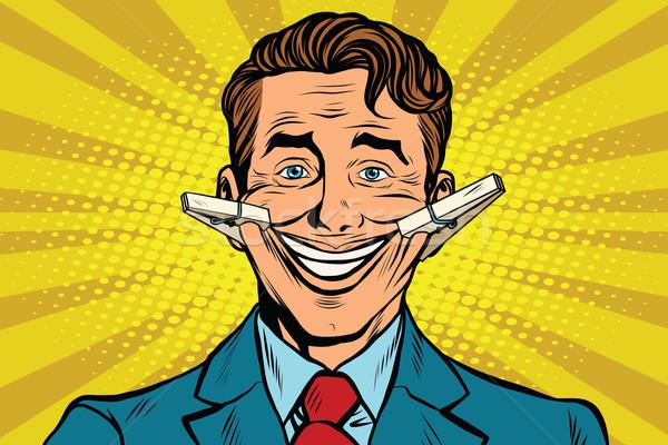Vals glimlach gezicht pop art retro business Stockfoto © studiostoks