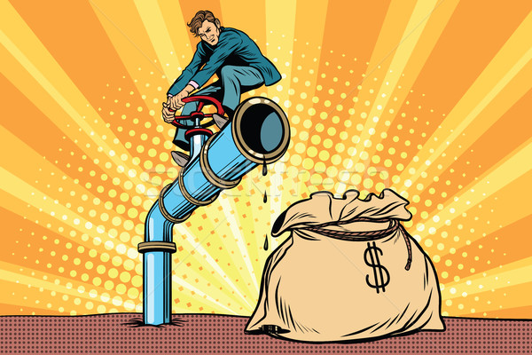 Businessman closes the tap oil pipe, a bag of money Stock photo © studiostoks