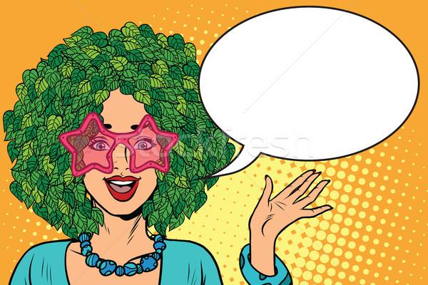 Kobieta włosy lasu eco zielone roślin Zdjęcia stock © studiostoks