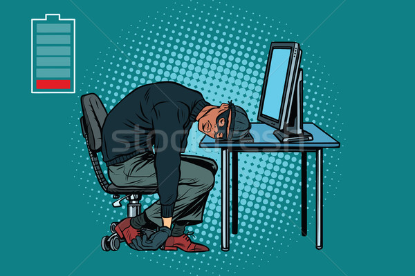 Slapen afrikaanse hacker computer pop art retro Stockfoto © studiostoks