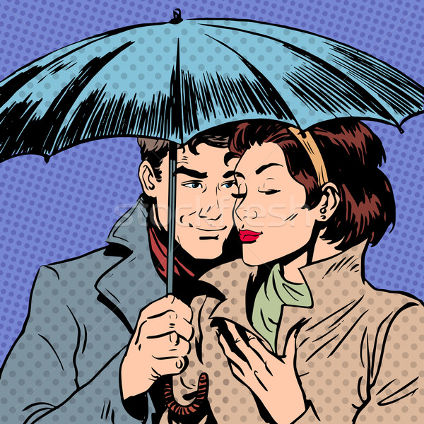 Rain man and woman under umbrella romantic relationship courtshi Stock photo © studiostoks