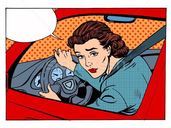Foto stock: Feminino · motorista · transporte · tráfego · regras · estilo · retro