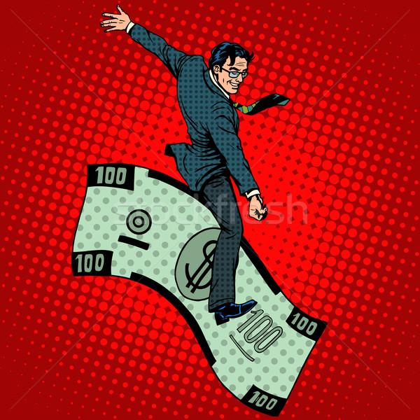 Financiële rodeo zakenman paardrijden dollar pop art Stockfoto © studiostoks