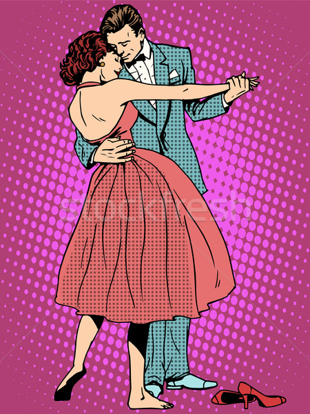 Düğün dans aşıklar adam kadın pop art Stok fotoğraf © studiostoks