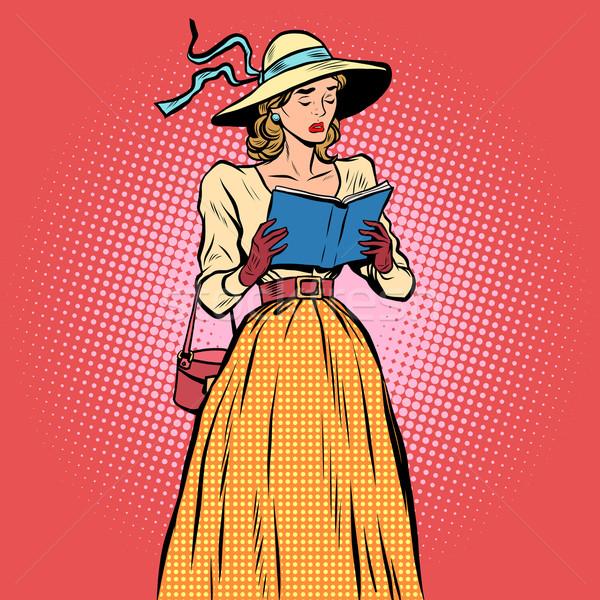 Menina leitura livro estilo retro triste Foto stock © studiostoks