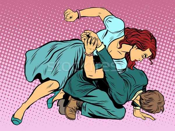 ストックフォト: 女性 · 男 · 戦う · ポップアート · レトロスタイル