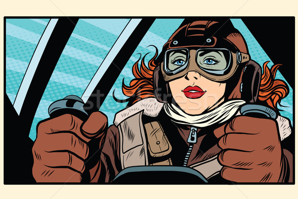 Girl retro pilot on the plane Stock photo © studiostoks