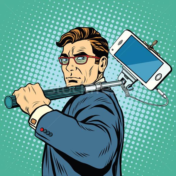 Uomo blogger smartphone pop art retro vettore Foto d'archivio © studiostoks
