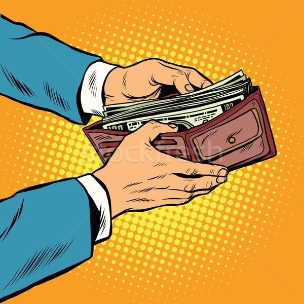 Cüzdan nakit para iş finanse pop art Stok fotoğraf © studiostoks