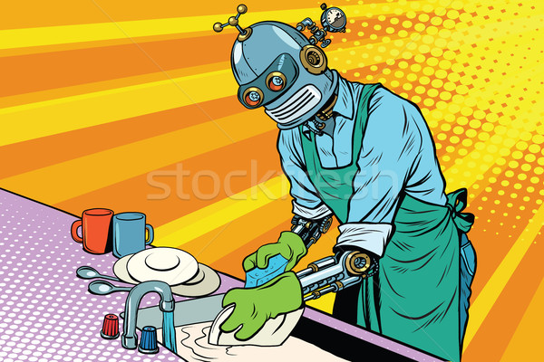 Vintage worker robot washes dishes Stock photo © studiostoks
