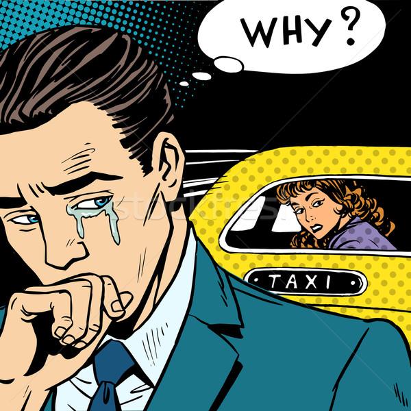 Adam kadın taksi boşanma ayırma sevmek Stok fotoğraf © studiostoks
