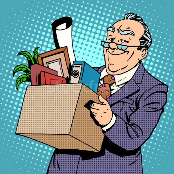 Feliz empresário escritório pensão folhas Foto stock © studiostoks