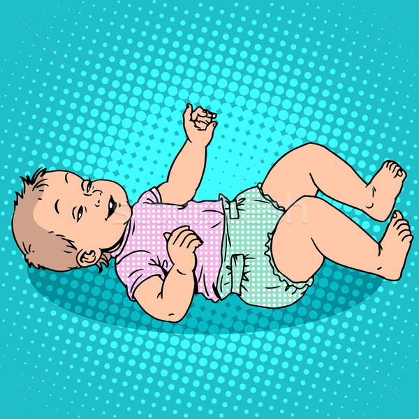 ストックフォト: 楽しい · 子供 · おむつ · 幼年 · 母性 · ポップアート