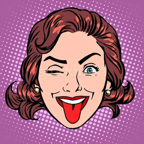 Retro Emoji tongue woman face Stock photo © studiostoks
