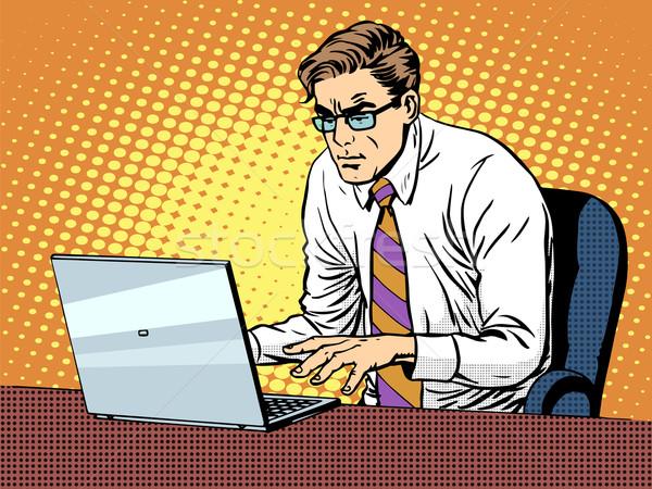 Stock fotó: üzletember · dolgozik · laptop · pop · art · retró · stílus · számítógépek