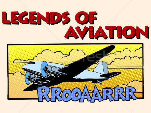 Aviazione abstract retro aereo pop art stile retrò Foto d'archivio © studiostoks