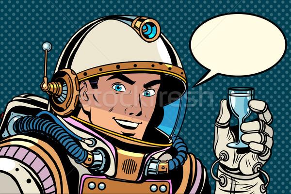 Kosmonaut toast viering pop art retro-stijl vakantie Stockfoto © studiostoks