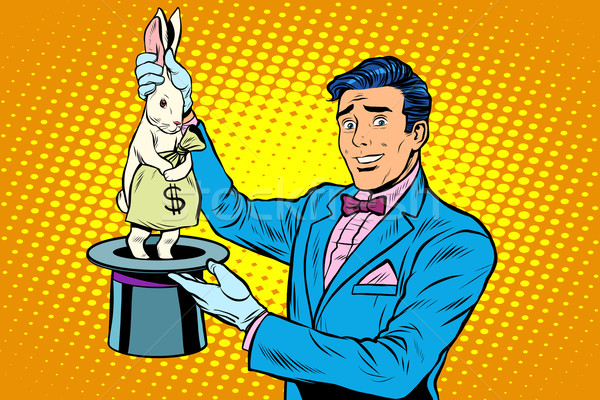 Businessman magician and Bunny money Stock photo © studiostoks