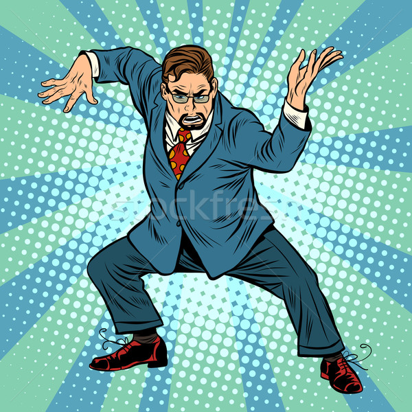 Business baas ninja vechtsporten pop art retro-stijl Stockfoto © studiostoks
