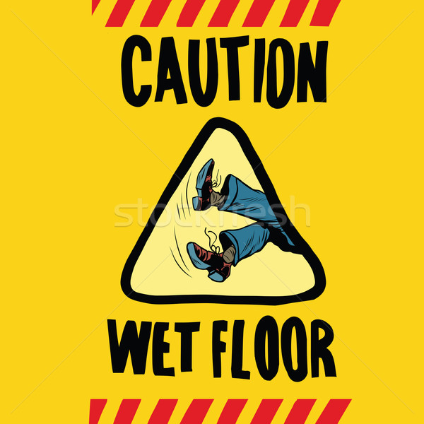 caution wet floor feet men Stock photo © studiostoks