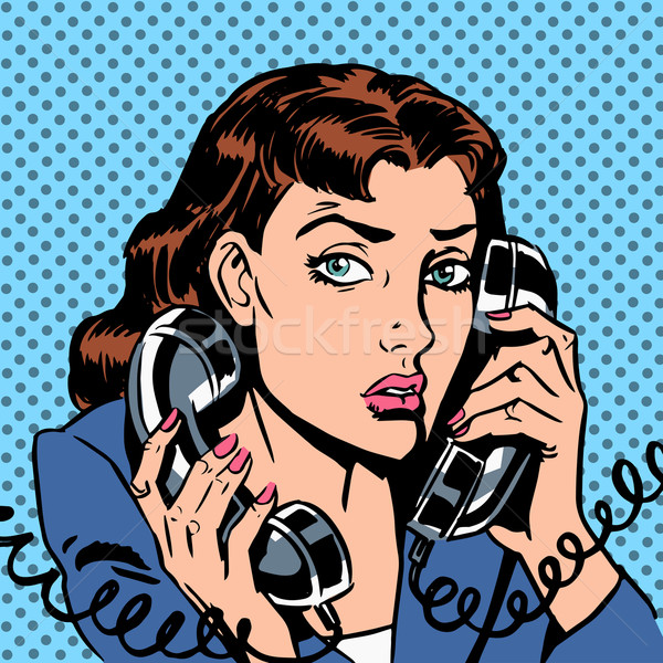 Wednesday girl on two phones running bond Secretary office Manag Stock photo © studiostoks