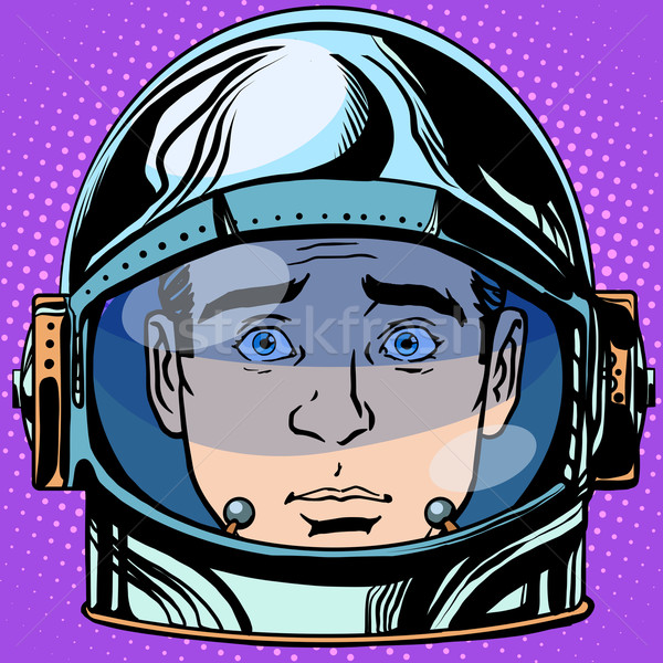 Emoticon verrassing gezicht man astronaut retro Stockfoto © studiostoks