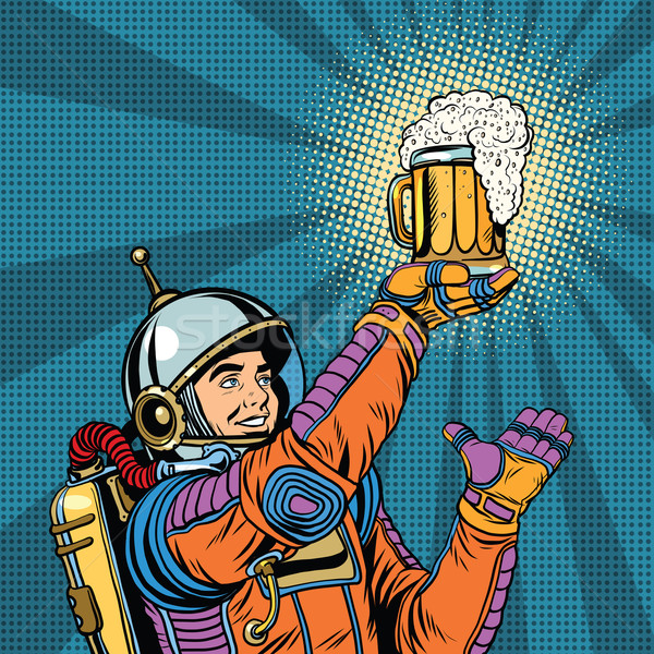 Retro astronaut mok bier pop art vector Stockfoto © studiostoks