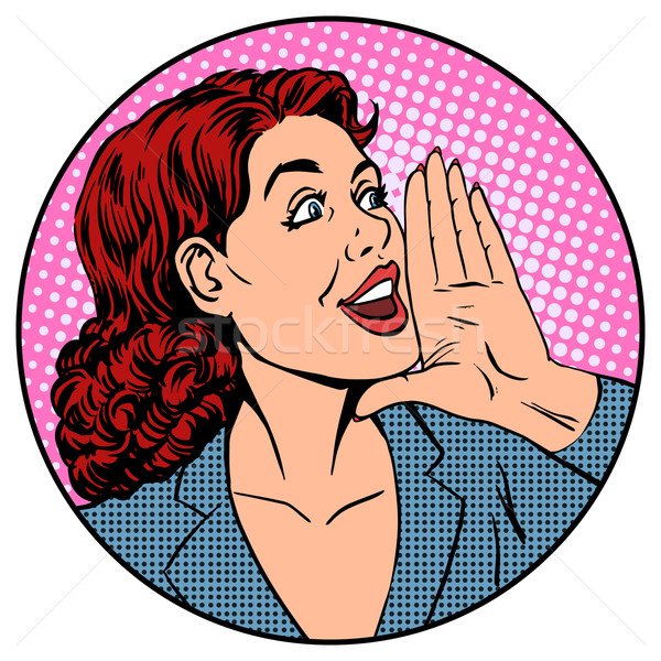 Woman businesswoman calling advertises agitates Stock photo © studiostoks