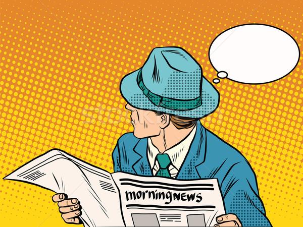 Retro człowiek czytania rano wiadomości pop art Zdjęcia stock © studiostoks
