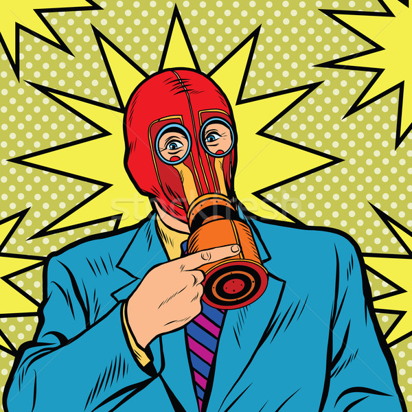 Gasmasker vintage rubber pop art retro vector Stockfoto © studiostoks