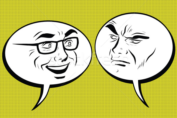 Dos hombres alegre enojado cómico burbuja cara sonriente Foto stock © studiostoks
