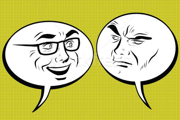 Two men joyful and angry. Comic bubble smiley face Stock photo © studiostoks