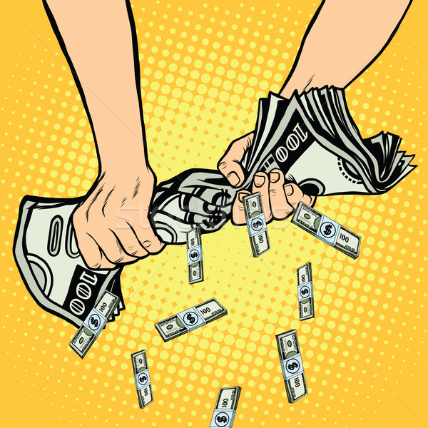 Financial profit, hands squeeze out of the money dollars Stock photo © studiostoks