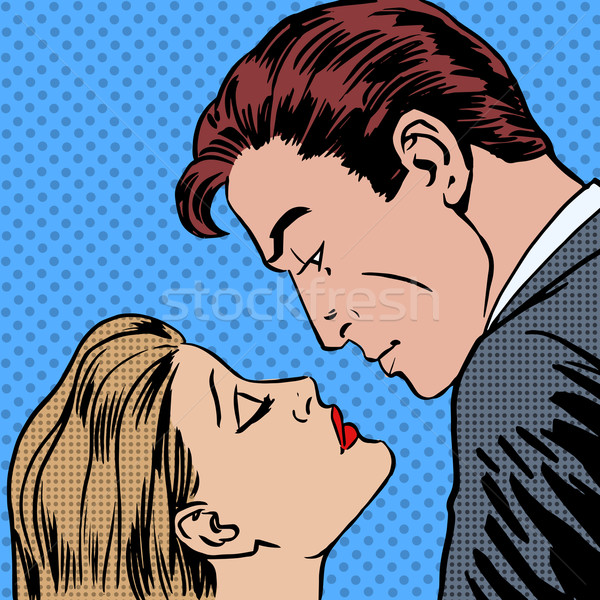 Love men and women kiss pop art comics retro style Halftone Stock photo © studiostoks