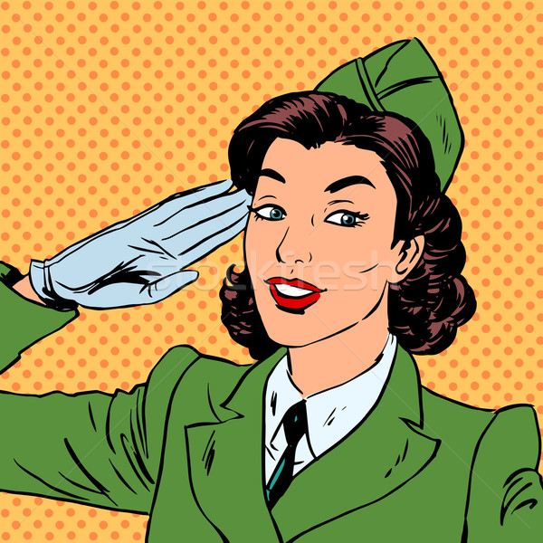 Woman pilot stewardess shape salutes art comics retro style Hal Stock photo © studiostoks