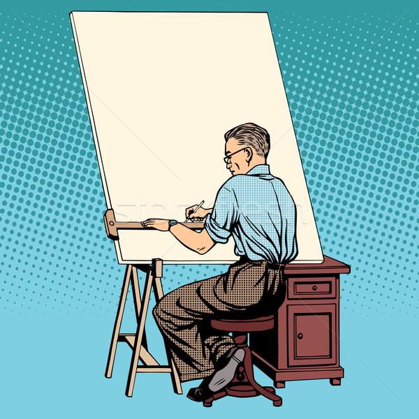 Bilim adamı tasarımcı Asya mühendis çalışma çizimler Stok fotoğraf © studiostoks